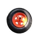 Roda pneumática de borracha da borda alaranjada do metal para o Wheelbarrow