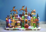 """Décoration de Noël de résine 11 LED """" Scène de village avec le vol, de Rennes 3 chansons de Noël"""