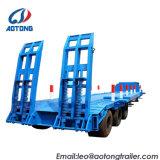 TransportGooseneck Lowboy des China-gehen weißer Exkavator-3axles/niedrig/Lowbed halb LKW-Schlussteil 80t zu Bett