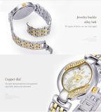 Belbi 호화스러운 숙녀 석영 건전지 보석 손목 시계 금, T/T 의 은 꽃 다이아몬드 다이얼 디자인 시계