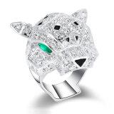 Gaf het Dierlijke Hoofd van de Juwelen van het koper de Zilveren Ring van de Vinger van CZ van de Kleur gestalte