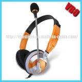 Nuevo auricular cómodo flexible diseñado 2014 del ordenador de China con el Mic rotatorio