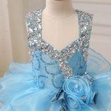 Blaue wulstige Organza-Kugel-Bucht-Mädchen-Kleider