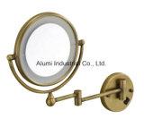 Alumi ronda de la luz de LED montados en el cuarto de baño Espejo de aumento de bronce de 3X