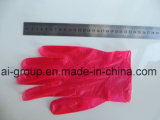 Rote Wegwerfenergien-freie Vinylhandschuhe für Nahrungsmittelservice
