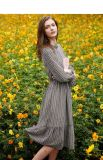 女性はウエストの大きい振動首プリント軽くて柔らかく長い服を緩める