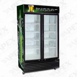 Refrigerador dobro de Diplay da bebida do frasco do refrigerador do indicador da porta deslizante feito em China