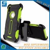 на iPhone x, крышка случая мобильного телефона высокой защитной кобуры зажима пояса Китая противоударная