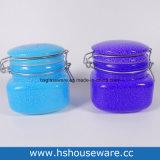 Un insieme di vetro spruzzato della scatola metallica di colore di un vaso 3 di vetro