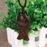 Wooden Fish Long Necklace Ethnic Jewelry Maxi Necklace for Women