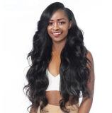 輝やきの絹は前に黒人女性のRemyの毛のための360のレースの前部かつらペルーボディ波150%の密度の人間の毛髪のかつらを摘み取った