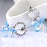 새로운 디자인 모조 사파이어 보석 수정같은 모조 다이아몬드 합금 심혼 하락 귀걸이