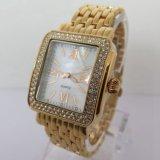 Diamante de las mujeres correa de cuero reloj con Encanto