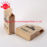 Kraft Paper Stand up Pouch / Flat Bottom Gusset Sac en plastique Food Grade Quad Sealing Side Guesst Pouch