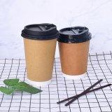 Tazas de café de papel disponibles de papel de la pared del doble del uso del material y de la bebida para la consumición caliente
