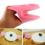 Luvas de silicone de porco rosa impermeável à cozinha, Mitenes de forno de silicone FDA
