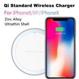 10W jeûnent interpréteur de commandes interactif ultra-mince en alliage de zinc de chargeur sans fil normal de Qi de la charge 2.0 pour l'iPhone X de Samsung S8
