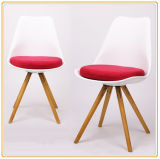 Cadeira plástica do lazer do projeto moderno com pé de madeira