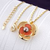 La joyería al por mayor de la flor del esmalte del encadenamiento del oro de la manera fijó para las muchachas