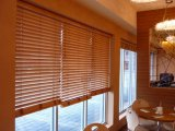 50mm Stained Color Basswood Slats UV Surfaces Coating High Profile Metal Head Rail Wood Blinds