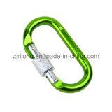 Gancho Chain da pressão do alumínio de Carabiner do verde do equipamento com um parafuso