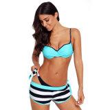 Hot Sale femmes Soutien-gorge froissé rayé bleu Bikini Bottom maillot de bain