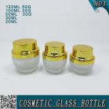 Goldkappen-bereiftes Glas-kosmetisches Sahneglas und Glasflasche