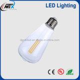 Bulbo patentado venta al por mayor de la hora solar LED del filamento E26 E27 de 110V 220V