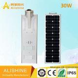 réverbère solaire Integrated de la lampe DEL de jardin des produits 30W avec la batterie lithium-ion