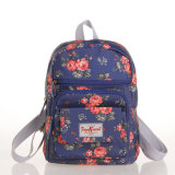حقيبة البريطاني خمر الزهور PVC مقاوم للماء قماش الكتف حقيبة الظهر