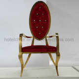 Royal Style Luxurious King Gold Cadeira de jantar em aço inoxidável de alta volta