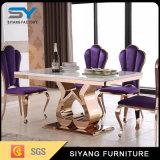 家具のダイニングテーブルを食事することはステンレス鋼の大理石表をセットした