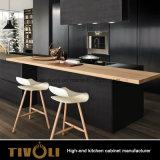 Конструкции кухни Германии мебель кухни Matt самомоднейшей черная с деревянным верхним островом (AP030)