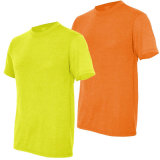 T-shirt 100% fluorescent vert de plaine de travail de sûreté de coton élevé de visibilité