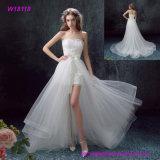 Коротк-Длина Applique шнурка сбор винограда шикарная белая с Ruched платьем венчания Tulle