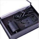 Parede de cor preta a ouvir a orelha do dispositivo de gravação de áudio de bugs do amplificador