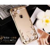 Caixa de galvanização do diamante da flor TPU da tampa do telefone móvel para iPhone6 6plus