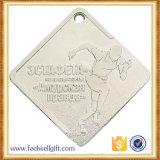 Médaille de estampage rectangulaire de marathon plaquée par argent avec sablé