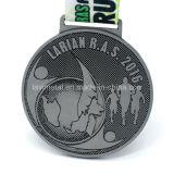 Medaglia d'argento antica poco costosa di maratona del metallo con il marchio su ordinazione
