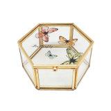 Doos van de Gift van de Juwelen van het Glas van het Metaal van de Douane van de luxe de Nieuwe Gouden (jb-1075)