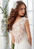 2017 une ligne pure dentelle sans manches applique Bouton précédent mariage robe de mariée