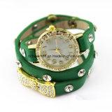 Relógios de pulso do bracelete da faixa do couro da forma das meninas