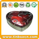 Estaño en forma de corazón caja de bombones de chocolate, comida lata