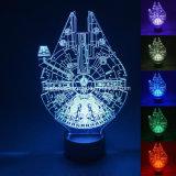 lumière changeante multi de nuit de 7 couleurs de 3D DEL