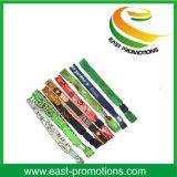 Wristband del tessuto del poliestere tessuto festival su ordinazione poco costoso di promozione del panno