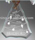 Presente de Natal de cristal pendurado na árvore