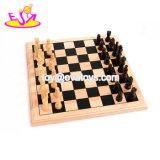 Crianças de madeira do jogo educacional o mais quente novo que jogam a xadrez com partes de xadrez W11A078