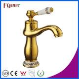 Fyeer Brass Body torneiras misturadoras de bacia dourada com alça de cerâmica