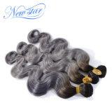 Волосы девственницы сотка йБ серые человеческие волосы объемной волны 100% Unprocessed