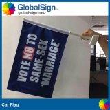 Напечатанные стороны промотирования 2 подгоняют рекламировать флаг окна автомобиля знамени мухы полиэфира